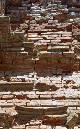 hinder: Background of old vertical brick wall. Stock Photo