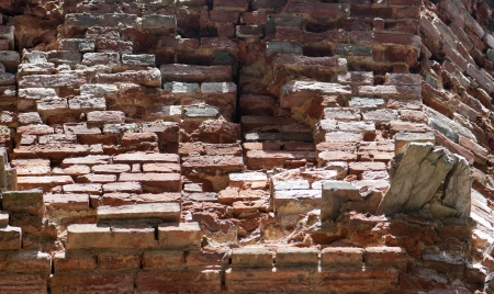 hinder: Background of old vertical red brick wall   Stock Photo