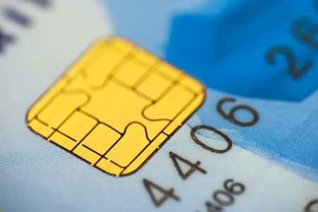 Close up of a chip on a credit card