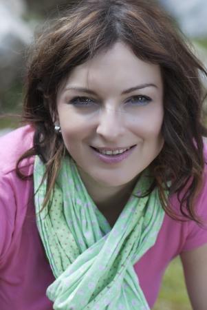 Young caucasian brunette woman smiles  Banque d'images