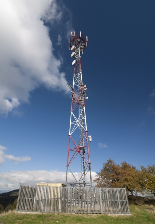 telecommunication tower: Telecommunication tower on the hill. Stock Photo