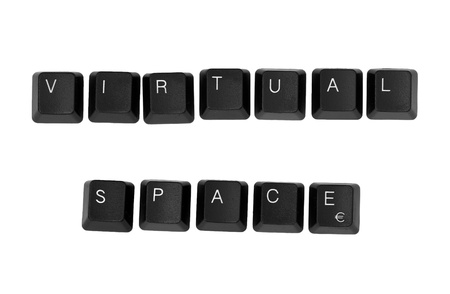 anonymity: VIRTUAL SPACE sign written on a keyboard  Isolated on a white background