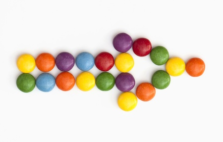 pointed arrows: Funny arrow shape of colorful candies.