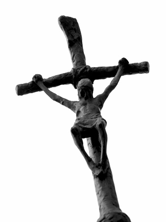 Crucifixion of Jesus Christ isolated on white background. photo