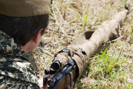 NITRA, SLOVAK REPUBLIC – JUNE 15: Reconstruction of the Second World War operations between Red army and German army, russian sniper on June 15, 2013 in Nitra, Slovak Republic
