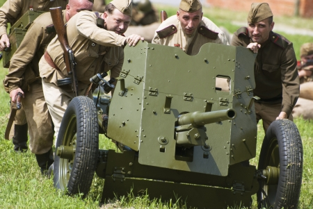 'second world war': NITRA, SLOVAK REPUBLIC – JUNE 15: Reconstruction of the Second World War operations between Red army and German army, russian attack on June 15, 2013 in Nitra, Slovak Republic