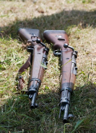 battleground: Two rifles lying in the grass.