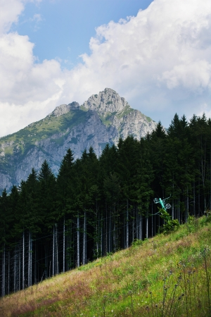 montane: Old ski lift and forest in the foreground. Big Rozsutec (Velky Rozsutec), Mala Fatra mountain, Slovak republic in the background. Stock Photo