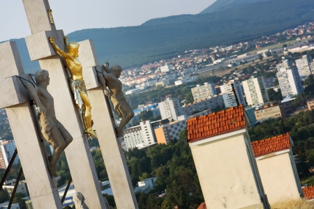 Jesus Christ on the cross.Calvary in Nitra, Slovak republic.