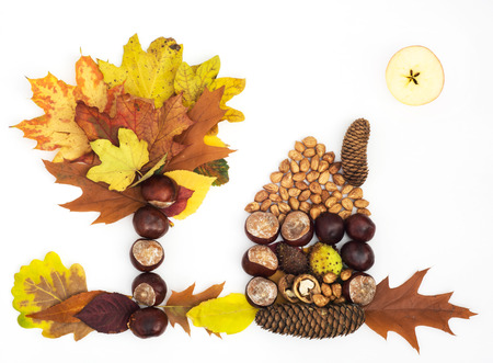 House, tree and sun made of autumn leaves, apple, chestnuts, pine cones and nuts on a white background. photo