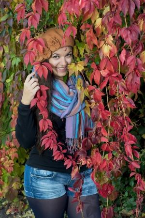caucasian girl: Happy caucasian girl with colorful autumn foliage.
