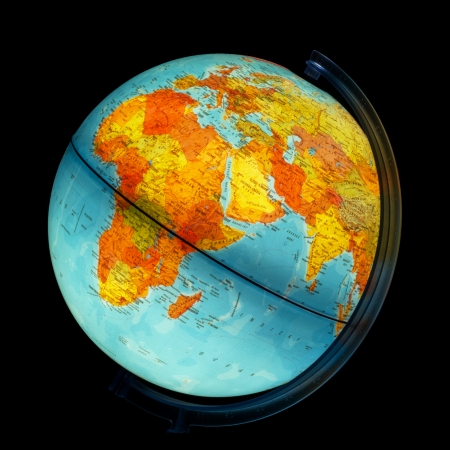 Illuminated globe. Africa and Eurasia. Stock Photo