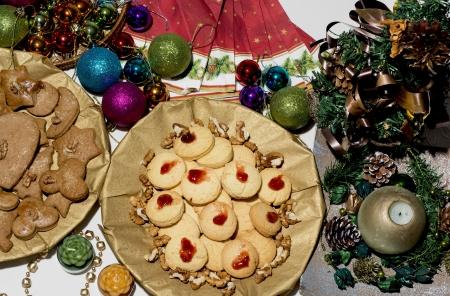 goodies: Table full of Christmas goodies. Stock Photo