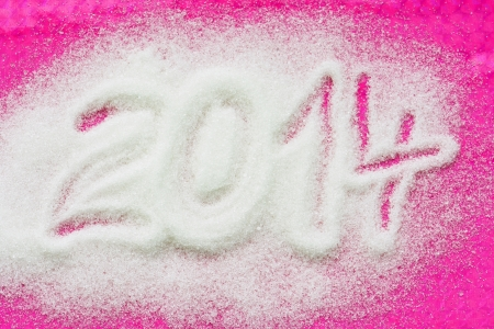 pour feliciter: PF 2014 made from the sugar. Happy New Year 2014. Stock Photo