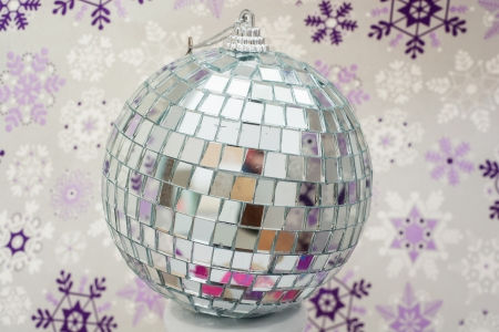 Mirror disco ball with winter photo
