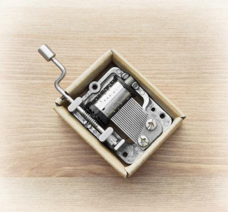 Little music box on a wooden