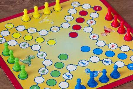 parlour games: Game of Ludo - board game  Stock Photo