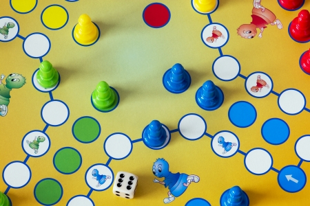 Close up of Game of Ludo.