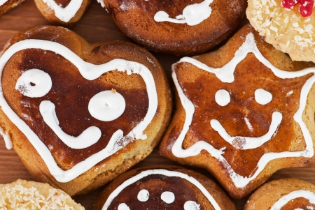 gingerbread cookies: Tasty gingerbread cookies. Smiling faces.