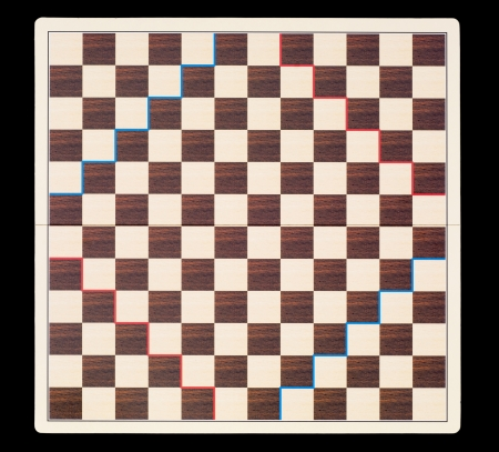 parlour games: Empty game board on a black background. View from above. Stock Photo