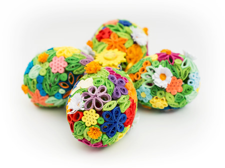 Easter eggs made of colored paper Stock Photo