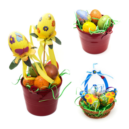 Collage of colorful easter decorations on a white background. photo