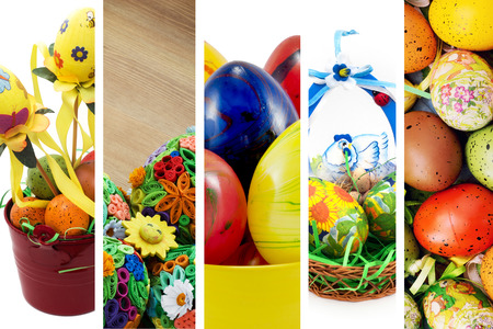 Collage of colorful easter decorations. photo