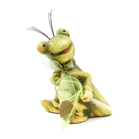 Little frog toy with seine on a white background. photo