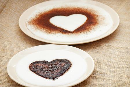 Two cocoa hearts in semolina pudding. Love token.