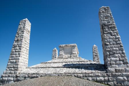 stefanik: Stefaniks tomb on the Bradlo hill in Brezova pod Bradlom, Slovakia. Stone monument. Stock Photo