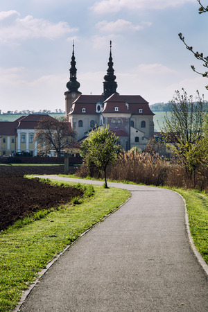 Way to the Basilica of Saint Cyrillus and Methodius in Velehrad village, Moravia, Czech republic. Stock Photo - 29292175