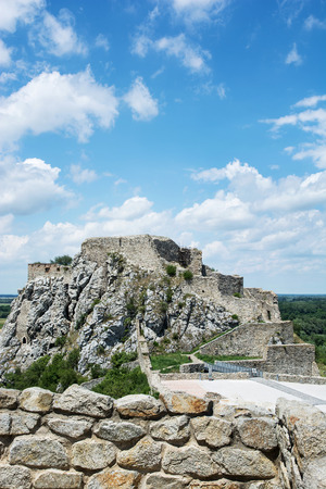 central europe: Famous castle Devin with blue cloudy sky. Slovakia, Central Europe.