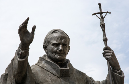 sanctification: Statue of pope John Paul II in Nitra, Slovak republic, central Europe.