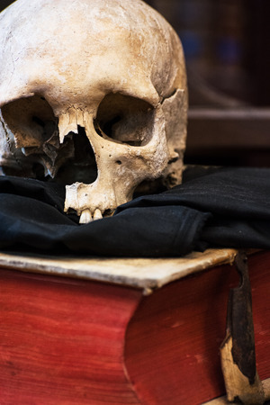 Human skull and old book. Scary theme. photo