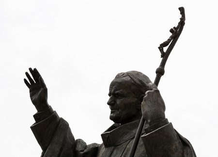 sanctification: Statue of pope John Paul II in Nitra city, Slovak republic, central Europe.