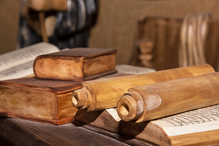 Wooden miniature of the monastic library. Cultural heritage.