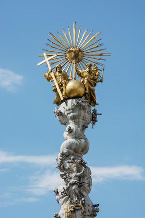 hauptplatz: Famous baroque Holy Trinity column in Linz, Austria. Stock Photo