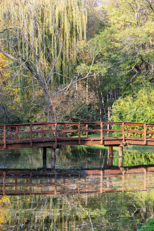 Wooden bridge over mirrored pond in the autumn park. Natural theme. photo