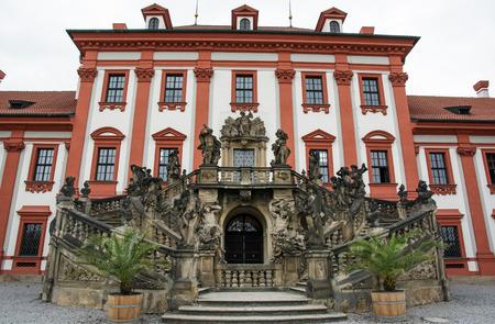 Facade with beautiful sculpture of Troja castle, Prague, Czech republic.