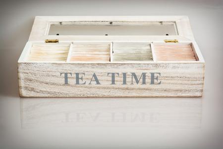Tea set in wooden box photo