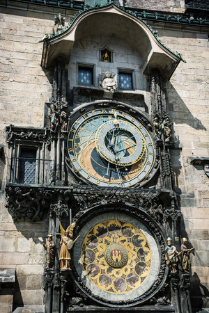 colossal: Colossal astronomical clock in Prague, Czech republic, Europe. Cultural heritage. Tourist destination. Stock Photo