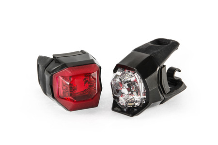 Safety lights for the bicycle on the white background.