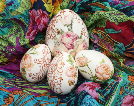 easteregg: Easter eggs group on the colorful scarf.