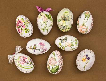 easteregg: Decorated Easter eggs on the brown paper. Spring time. Stock Photo