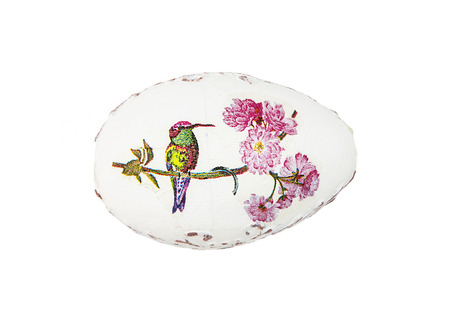 easteregg: Beautiful painted Easter egg with bird. Spring time. Stock Photo