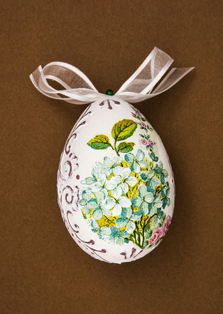 easteregg: Painted Easter egg with the flowers theme. Spring time.