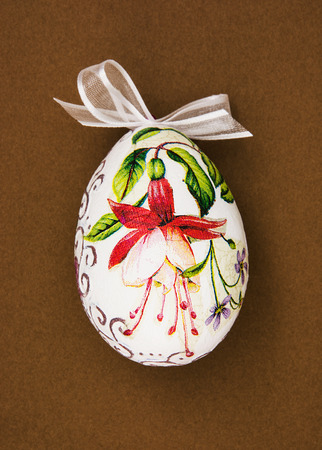 easteregg: Painted Easter egg with red flower. Spring time. Stock Photo
