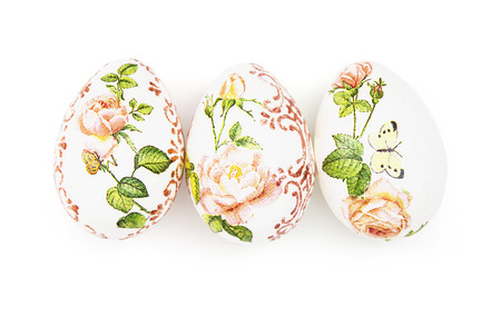 easteregg: Three beautiful Easter eggs on the white background. Stock Photo