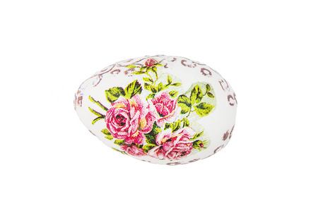 easteregg: Beautiful painted Easter egg with red flowers on the white background. Spring time.