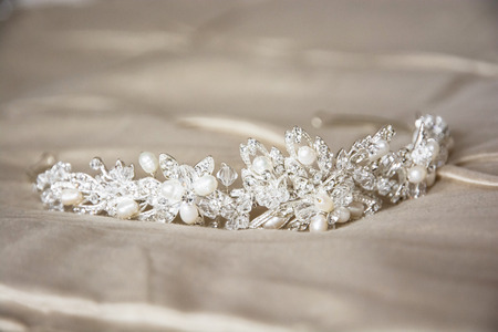 Wedding stilleven met mooie tiara. Stockfoto